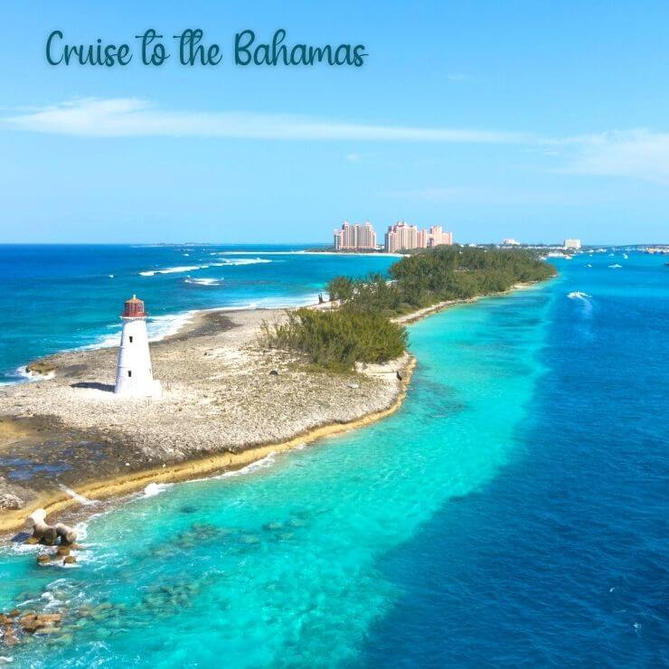 A birds-eye view of Nassau, Bahamas, a popular cruise destination for first time cruisers looking for a short itinerary.