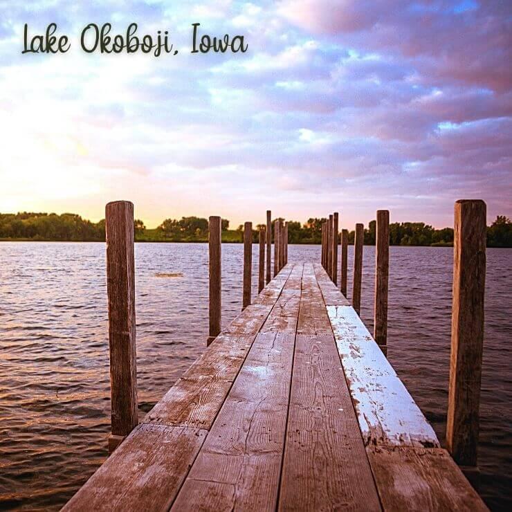 Dock on Lake Okoboji in Iowa, a family-friendly resort town hidden gem in the US.