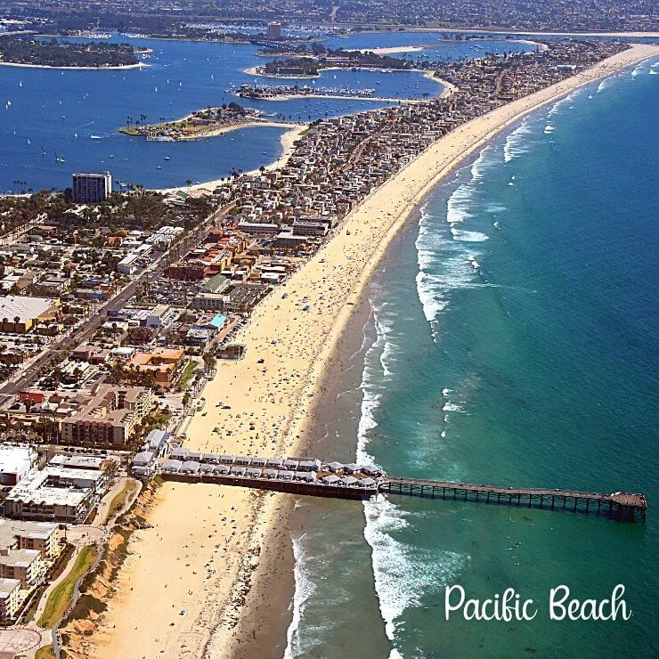 Aerial view of the PB neighborhood of San Diego with a view of Crystal Pier Hotel.