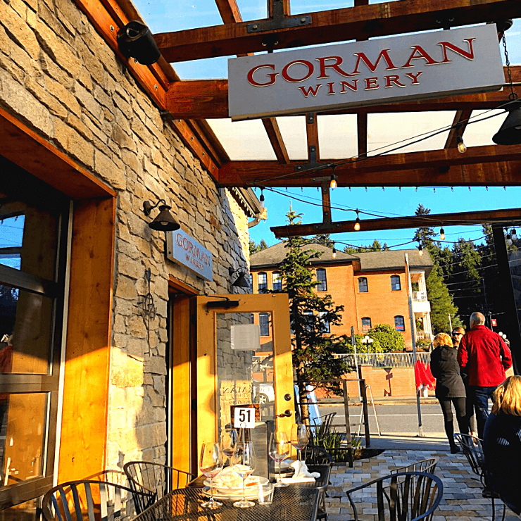 Gorman Winery in Woodinville, Washington is just one of many wine tasting rooms in downtown Woodinville.