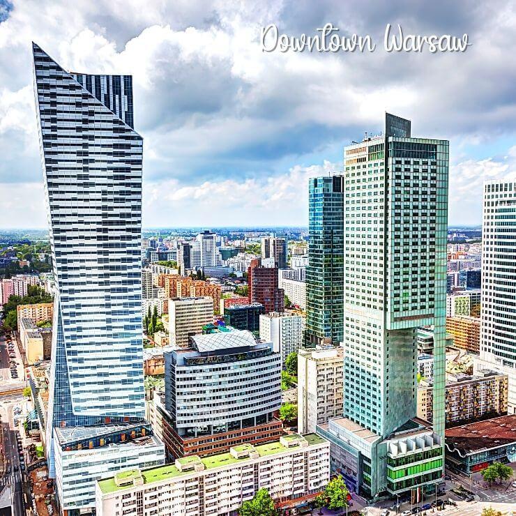 The skyline of downtown Warsaw, Poland