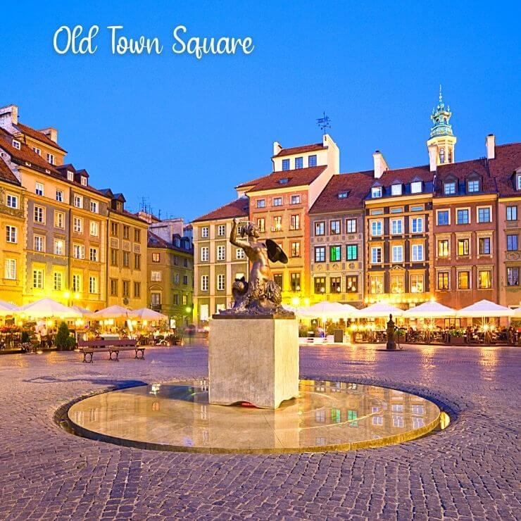 Pretty Square in Old Town Warsaw. Old Town is a great place to spend an evening if you have 24 hours in Warsaw.