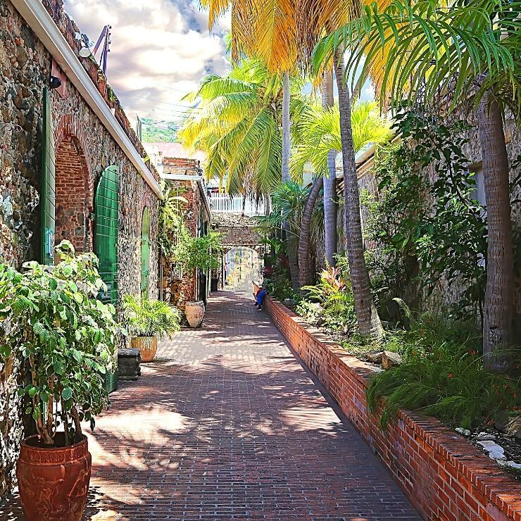 Pretty street in Charlotte Amalie, St. Thomas. Charlotte Amalie is a must-see part of the island during a day in St. Thomas