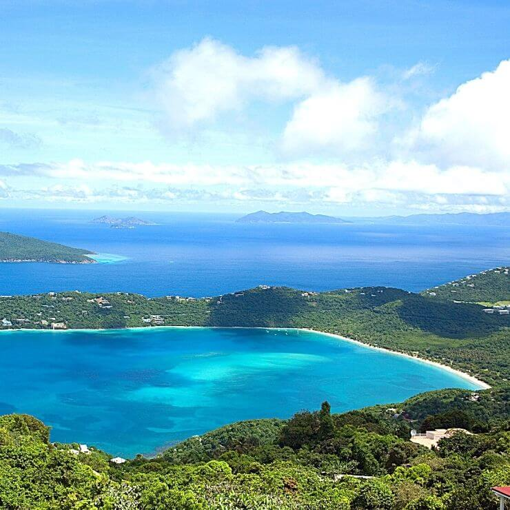 Aerial view of Magens Bay and beyond in St. Thomas