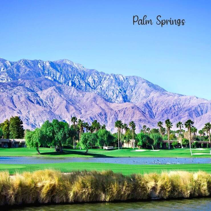 Golf course and mountains in Palm Springs.